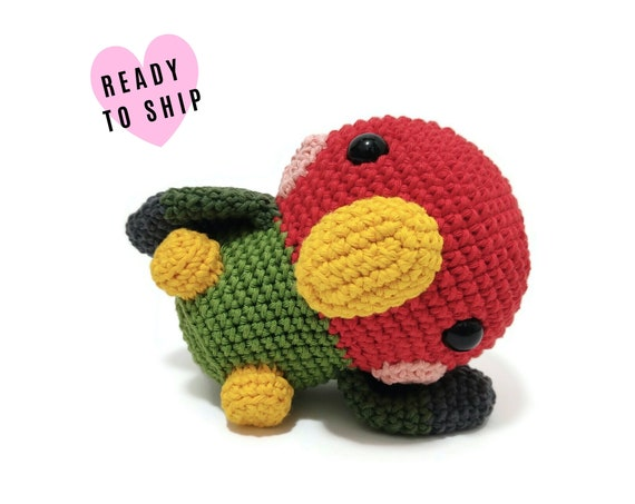 HANDMADE CROCHET Lovebird • Amigurumi bird • peach-faced parrot plush • Knitted bird • Cockatiel • CrochetByKim • Ready to ship