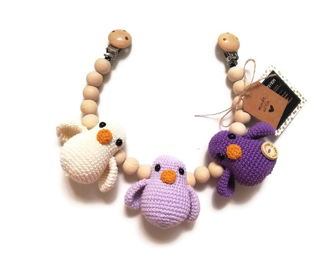 STROLLER CHAIN • amigurumi birds • woodland animals • amigurumi • crochet pram garland • kinderwagenkette • wagenspanner • Ready To Ship
