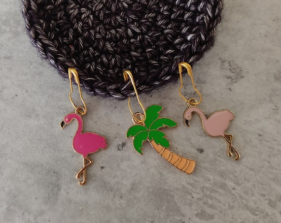 3 Enamel Stitch Markers • notions • row markers • end markers • place markers for crochet • Flamingo Palm • Safety Pins with Charm