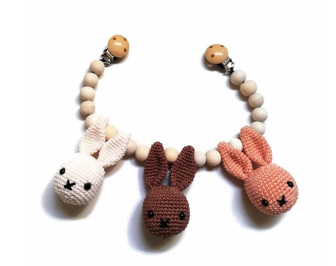 READY TO SHIP - handmade crochet stroller chain with bunnies - amigurumi - pram mobile - garland - baby toy - baby shower - wooden beads