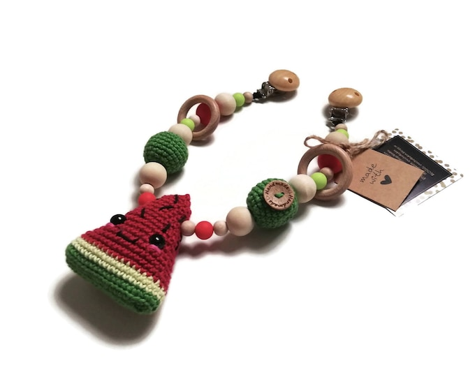 STROLLER CHAIN • watermelon fruit • woodland animals • amigurumi • crochet pram garland • kinderwagenkette • wagenspanner • Ready To Ship