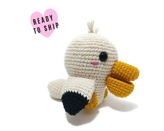 HANDMADE CROCHET Baby Pelican Bird • Amigurumi bird • Pelican plush • Knitted bird • Swedish animals • CrochetByKim • Ready to ship