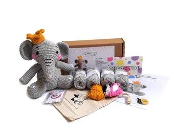AMIGURUMI CROCHET KIT • Snorky the elephant • crochet kit • amigurumi pattern • subcription box • amigurumi crochet box • material kit • diy