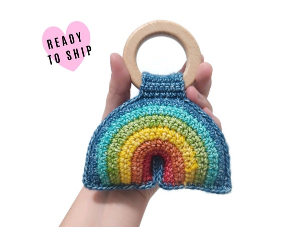 Handmade Crochet Rainbow Rattle • wooden ring • stuffed • boho wooden teething toy • Rainbow Teether • READY TO SHIP