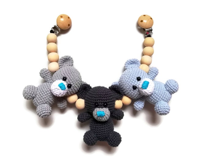 Handmade crochet stroller chain teddy bears - pram mobile - garland - baby toy - toddler - teddy bear - wooden beads - READY TO SHIP
