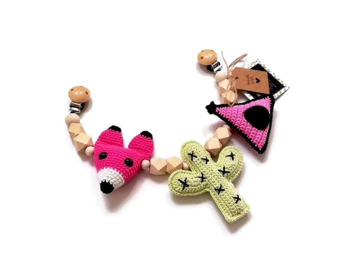 STROLLER CHAIN • fox • cactus • tipi • woodland animals • amigurumi • crochet pram garland • kinderwagenkette • wagenspanner • Ready To Ship