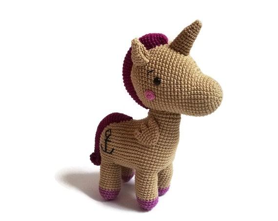 Crochet large unicorn - Pica Pau - animal friends - handmade - amigurumi - stuffed pony - horse - cotton toy