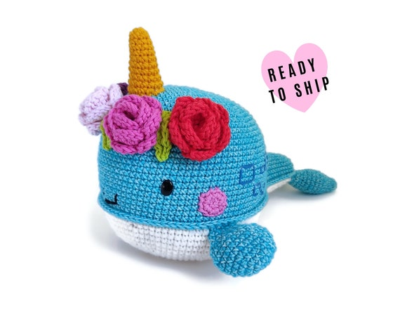 HANDMADE CROCHET NARWHALE • Large stuffed whale • amigurumi sea animal • Unicorn whale • Crochet flower • swedish design • Ready To Ship