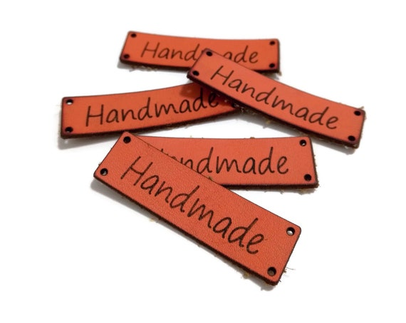 Handmade Tags • 5 pcs • Leather Look Labels • Handmade • Leather tags for handmade items • Tags for crochet • knitting labels • Amigurumi