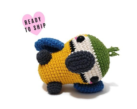 HANDMADE CROCHET Baby Blue & Gold Macaw • Amigurumi bird • Ara • Knitted Parrot Bird • South American bird • CrochetByKim • Ready to ship
