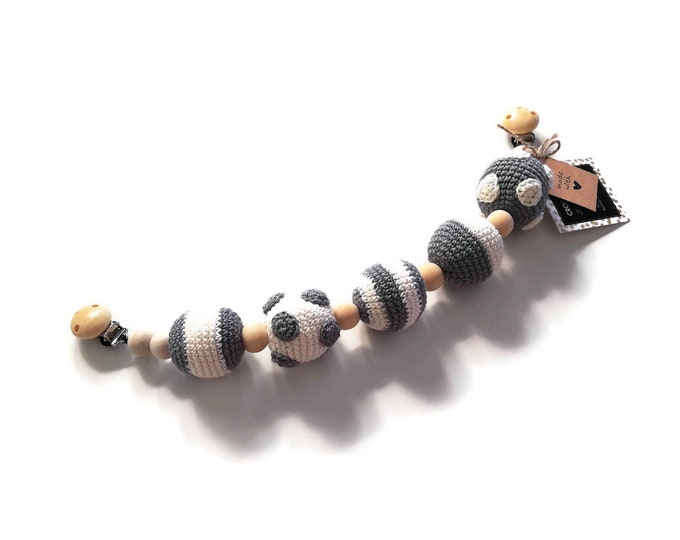 READY TO SHIP - Handmade crochet stroller chain with balls - pram mobile - garland - kinderwagenkette - circus - wooden beads - crochetbykim