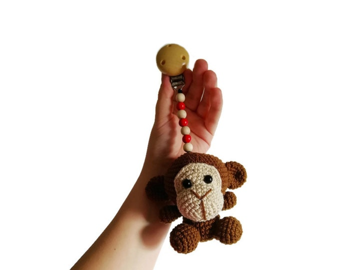READY TO SHIP - crochet stroller toy - pram mobile - garland - baby toy - toddler - monkey - wooden beads