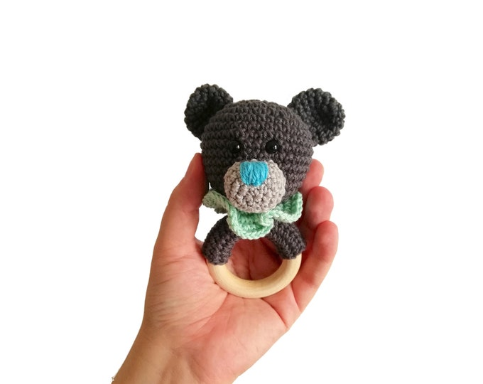 Crochet teddy bear teether - amigurumi teddy bear - rattle - teethering - handmade - baby teething ring - natural baby toy - animal rattle