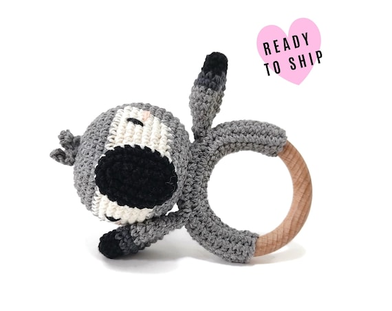 Handmade Crochet African Grey Parrot Rattle • wooden ring • stuffed • boho wooden teething toy • Macaw ara Teether • READY TO SHIP