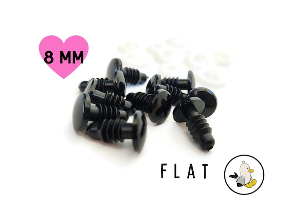 FLAT SAFETY EYES 8 mm - amigurumi eyes - dollmaking - doll parts - Safety Eyes with Plastic Backs for Teddy Bear - Animal Soft Toy Making