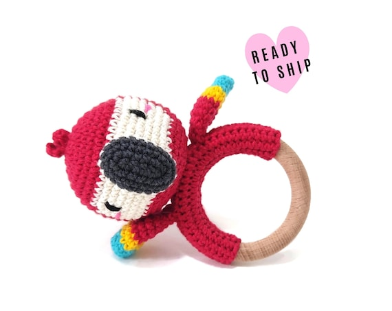 Handmade Crochet Scarlet Macaw Rattle • wooden ring • stuffed • boho wooden teething toy • Parrot ara Teether • READY TO SHIP