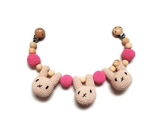 READY TO SHIP - crochet stroller chain - pram mobile - garland - baby toy - toddler - bunny - wooden beads