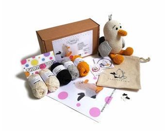 AMIGURUMI YARN KIT - Scraps the seagull - crochet kit - amigurumi pattern . subcription box - amigurumi crochet box - material kit - diy