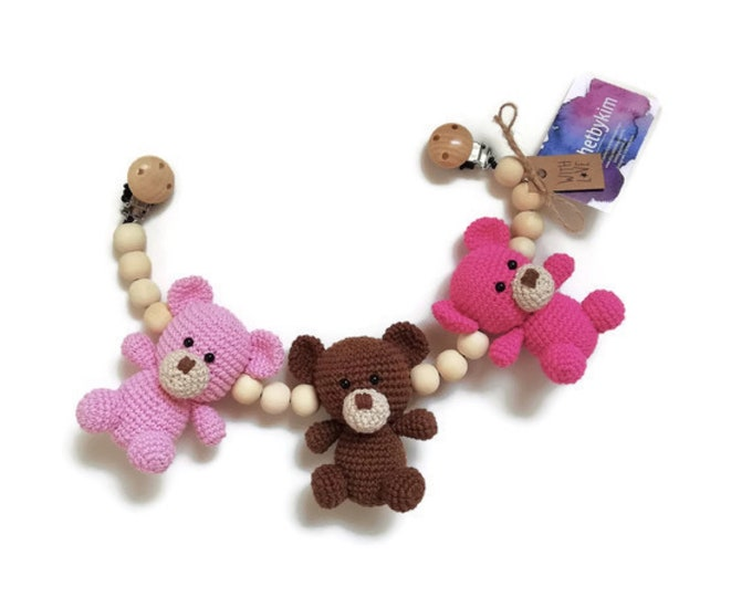 crochet stroller chain - pram mobile - garland - baby toy - toddler - teddy bear - wooden beads - READY TO SHIP