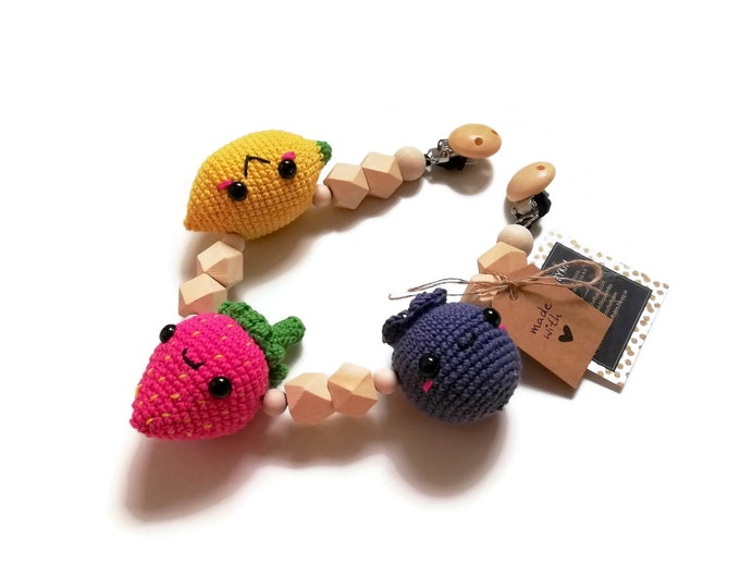 STROLLER CHAIN • lemon strawberry blueberry fruit • woodland animals • amigurumi • crochet pram garland • kinderwagenkette • wagenspanner