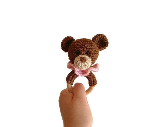 Crochet teddy bear teether - amigurumi teddy bear - rattle - teethering - handmade - baby teething ring - natural baby toy - animal rattle
