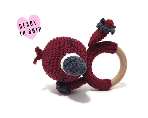 Handmade crochet flamingo teether • amigurumi flamingo rattle • teethering • baby teething ring • Tropical bird • rassel • READY TO SHIP