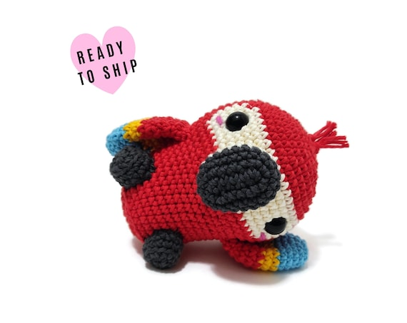 HANDMADE CROCHET Baby Scarlet Macaw • Amigurumi bird • Ara plush • Knitted Parrot Bird • South American bird • CrochetByKim • Ready to ship