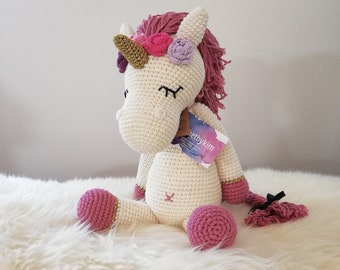 Handmade Crochet large unicorn with flowers • xl amigurumi unicorn • stuffed pony • horse • mykrissiedolls • vibemai • MADE TO ORDER