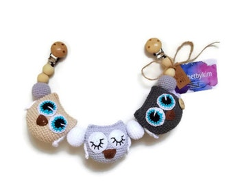 READY TO SHIP - crochet stroller chain - pram mobile - garland - baby toy - toddler - owl - owls birds - wooden beads