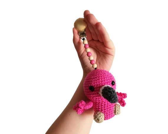 READY TO SHIP - crochet stroller toy - pram mobile - garland - baby toy - toddler - flamingo bird - wooden beads