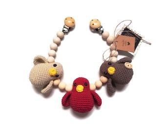 READY TO SHIP - handmade crochet stroller chain with birds - amigurumi - pram mobile - garland - baby toy - baby shower - wooden beads