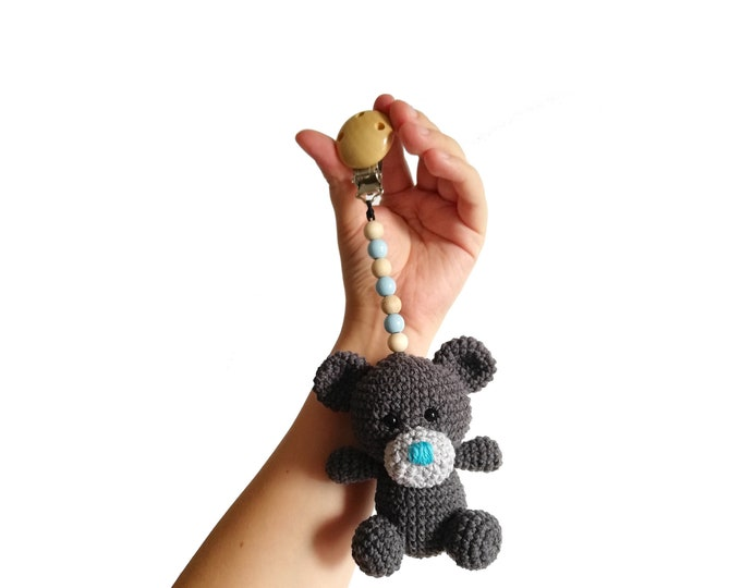 READY TO SHIP - crochet stroller toy - pram mobile - garland - baby toy - toddler - teddy bear - wooden beads