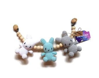 READY TO SHIP - handmade crochet stroller chain - pram mobile - garland - baby toy - toddler - bunny - wooden beads