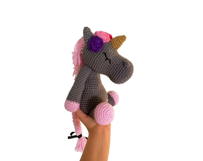 Crochet unicorn with flowers - handmade - amigurumi - stuffed pony - horse - cotton toy - mykrissiedolls - vibemai
