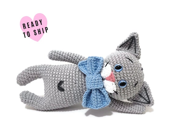 Handmade Crochet Cat • Amigurumi cat • crochet kitten • kitty toy • cat lover • plushie cat • stuffed cat • READY TO SHIP