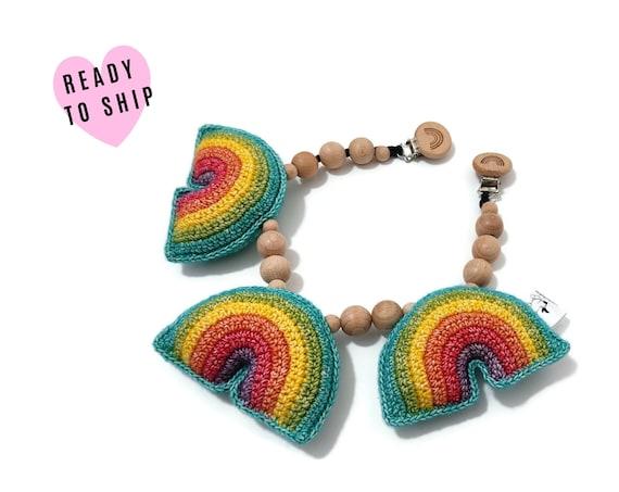 STROLLER CHAIN • Rainbow • Crochet • amigurumi • crochet pram garland • kinderwagenkette • wagenspanner • Ready To Ship