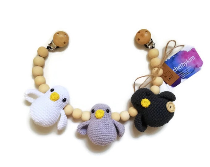 READY TO SHIP - crochet stroller chain - pram mobile - garland - baby shower - amigurumi birds - wooden beads