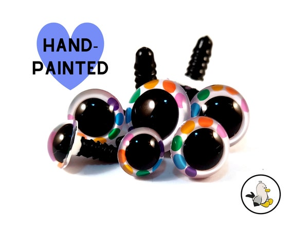 WHITE RAINBOW DOTS Hand Painted Safety Eyes • Safety eyes • Amigurumi Eyes • Toy Eyes • Plastic Eyes • Doll Eyes • Crochet Knit Sew •
