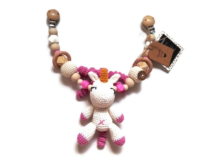 STROLLER CHAIN • amigurumi unicorn • fantasy • pink white • crochet pram garland • kinderwagenkette • wagenspanner • Ready To Ship