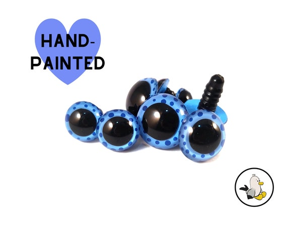 BLUE with dots Hand Painted Eyes • Safety eyes • Amigurumi Eyes • Toy Eyes • Plastic Eyes • Doll Eyes • Crochet Knit Sew •