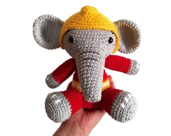 Handmade crochet Elephant fireman • fire department • Personalized toy • Stuffed animal • rakel • brandman • CrochetByKim • MADE TO ORDER