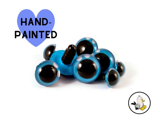 BLUE Hand Painted Eyes 12 mm 15 mm 18 mm 20 mm • Safety eyes • Amigurumi Eyes • Toy Eyes • Plastic Eyes • Doll Eyes • Crochet Knit Sew •