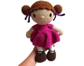 Handmade crochet doll with brown hair EVY • amigurumi doll • handmade doll • gift for girl • interior doll • dress and shoes • stuffed doll