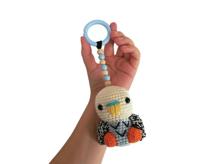 Handmade crochet stroller toy • amigurumi budgie • aussie • australian animals • pram toy • kinderwagenkette • wagenspanner • Made To Order