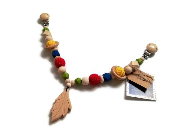 STROLLER CHAIN • leaf • wooden • yellow blue green red • pram garland • kinderwagenkette • wagenspanner • crochetbykim • Ready To Ship