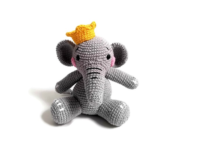 Handmade Crochet amigurumi elephant - snorky the elephant - zoomigurumi - safari toy - cotton animal - swedish design - crochetbykim