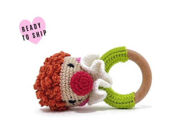 Handmade crochet clown rattle • amigurumi clown teether • teethering • baby teething ring • natural baby toy • rassel • READY TO SHIP