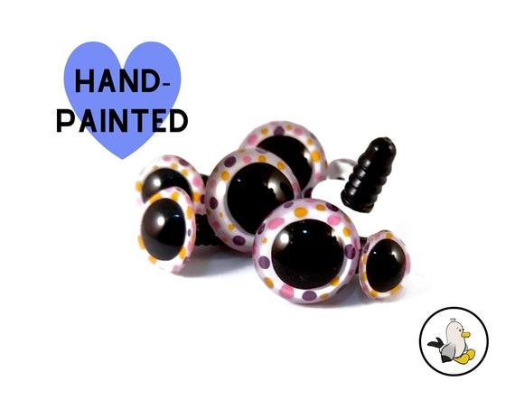 WHITE DOTS Hand Painted Safety Eyes • Safety eyes • Amigurumi Eyes • Toy Eyes • Plastic Eyes • Doll Eyes • Crochet Knit Sew •