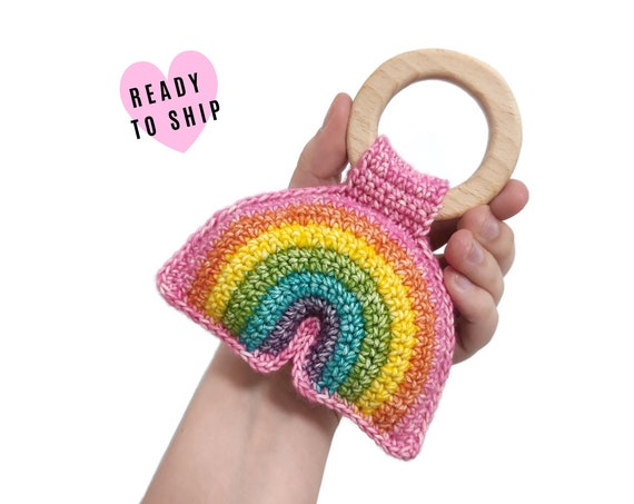 Handmade Crochet Rainbow Rattle • wooden ring • stuffed • boho wooden teething toy • Rainbow Teether • READY TO SHIP