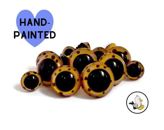 Hand Painted Safety Eyes • Safety eyes • Amigurumi Eyes • Polka dots Toy Eyes • Plastic Eyes • Doll Eyes • Crochet Knit Sew •